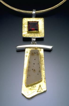 Garnet & Drusy Pendant